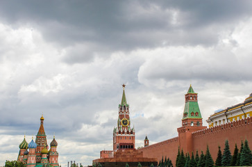 The Kremlin wall is a mausoleum and the temple of the Basil of the Blessed. Red Square Moscow