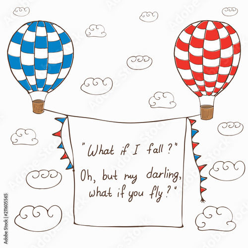 Vector Illustration With Two Hot Air Baloons Flying In The Sky With