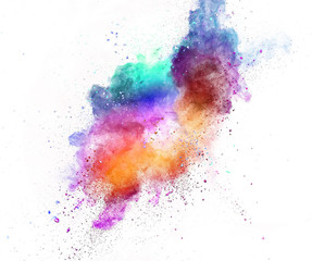 Colored powder explosion isolated on white background.
