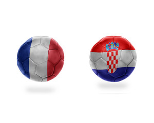 football balls with national flags of france and croatia.