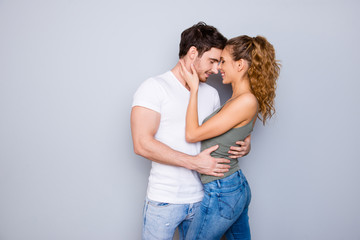 Trust support tempting coquettish seductive delight serenity concept. Portrait of lovely romantic couple in casual outfits jeans hugging keeping eyes closed enjoying time together