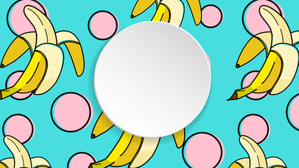 Banana background with pop art dots in 80s, 90s style. Summer tropical banner with 3d paper plate. Fruit label with banana background for season sale, special offer, flyer and ad. Colorful template.