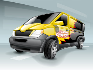 Cartoon business van with yellow and black abstract background theme.