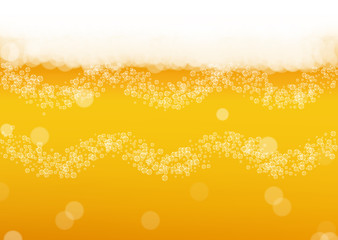 Beer background with realistic bubbles.  Cool liquid drink for pub and bar menu design, banners and flyers.  Yellow horizontal beer background with white foam. Cold pint of golden lager or ale.