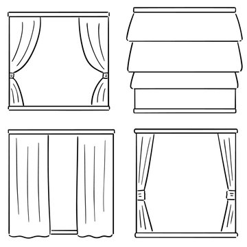 vector set of curtains