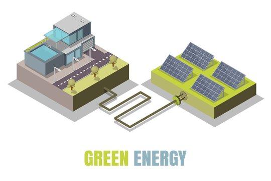 Green energy concept vector isometric illustration