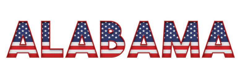 Alabama USA state made from starts and stripes lettering. 3D Rendering