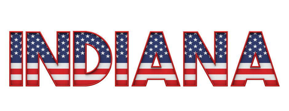 Indiana USA state made from starts and stripes lettering. 3D Rendering