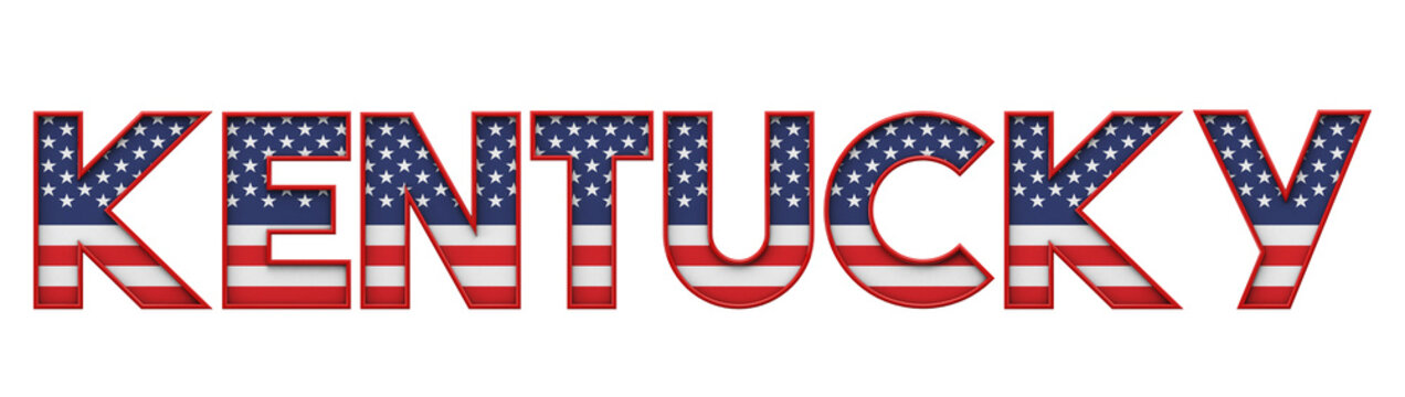 Kentucky USA state made from starts and stripes lettering. 3D Rendering