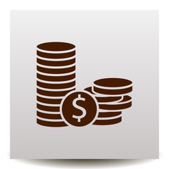 Coins and dollar cent vector icon on a realistic paper background with shadow