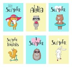 Summer animal cards vector hand drawn illustration