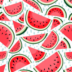 Seamless pattern with slices of watermelon