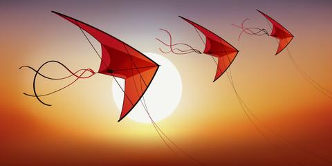 cerf volant - vacances - jeu de plein air - concept - loisir - plein air - symbole - liberté - 3
