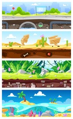 Game background vector cartoon landscape interface gamification and cityscape or urban gaming scene backdrop illustration set of underwater ocean or desert wallpaper