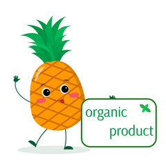 A cute pineapple cartoon character holds a plate of organic foods. Vector illustration, a flat style.