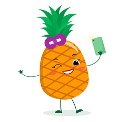 Cute pineapple cartoon character with bow. Holds a phone and makes selfies. Vector illustration, a flat style.