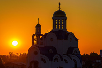 Orthodox Christian church at dawn