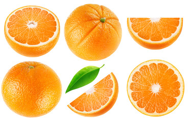 Isolated oranges collection. Whole orange fruits and cut into pieces isolated on white background with clipping path