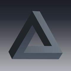 illusion d'optique - triangle -symbole - énigme -concept - logo - optique - mystère - vision