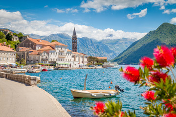 Wall Mural - Historic town of Perast at Bay of Kotor in summer, Montenegro