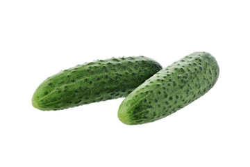 fresh cucumbers on a white background isolated