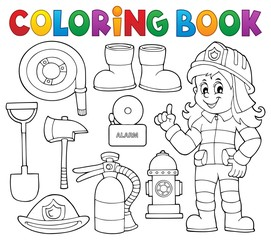 Coloring book firefighter theme set 1