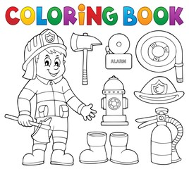 Coloring book firefighter theme set 2