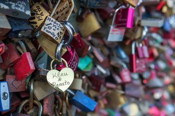 Love lock bridge (Hohenzollernbrucke Bridge), Cologne, Germany. Selective focus