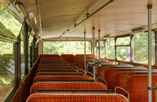 Old time bus cabin with old seats