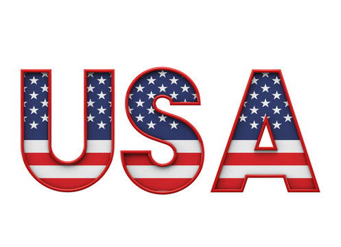 USA stars and stripes flag font word. 3D Rendering