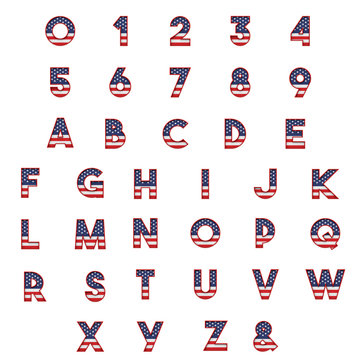 United States stars and stripes flag font alphabet. 3D Rendering