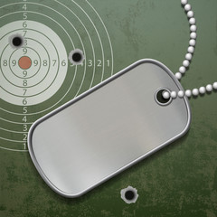 Blank metal tags on a chain. ID military soldier.