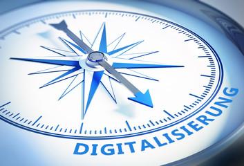 Kompass weiß blau Digitalisierung