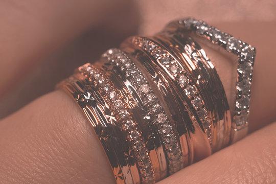 Gold rings on the finger