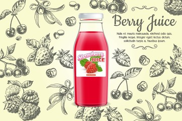Berry juice poster vector design template