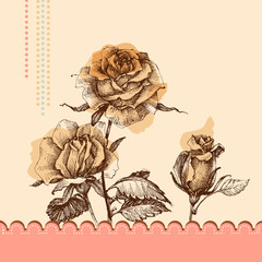 Fototapete - Cute pink floral invitation. Hand drawn roses
