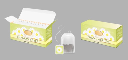 Chamomile tea package vector realistic mockup set