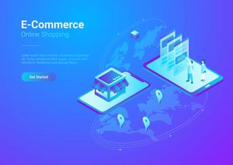 E-commerce World map isometric vector. People buy Smartphone