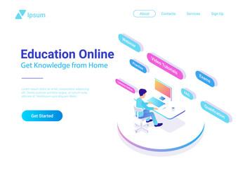 Flat Isometric People working Computer Education Online vector - Buy