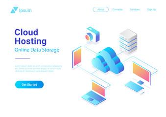 Isometric Flat Cloud Hosting Network vector. Online Computing