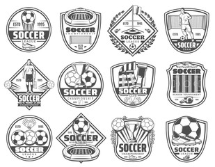 Football or soccer sport heraldic icons