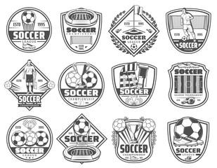 Football or soccer sport heraldic icons