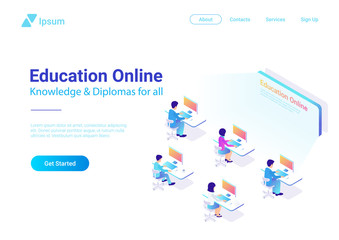 Flat Isometric People working Computer Education Online vector