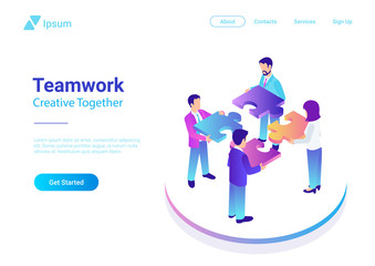 Isometric Flat vector Management Teamwork Business People Puzzle