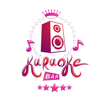 Karaoke bar calligraphy lettering composed with subwoofer audio equipment and musical notes, can be used as design element for musical karaoke performance flyer template