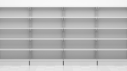 empty supermarket shelves in front of white wall