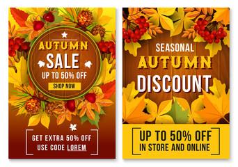 Autumn sale online discount vector poster