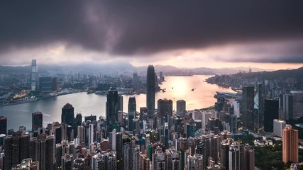 Fotomurales - Sunrise at The Peak of Hong Kong with overcast sky