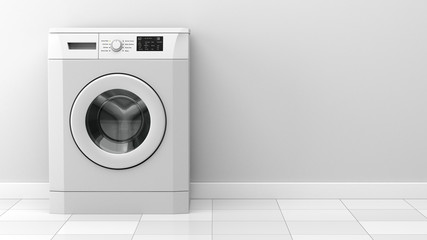 modern washing machine in front of white wall