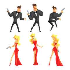Secret agents in different poses. Handsome man and beautiful woman with gun in hands. Male in black suit, female in sexy red dress. Flat vector set
